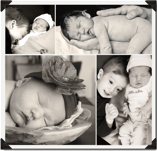 Newborn, collage, brother, sister, love, babies, black&white, b&w