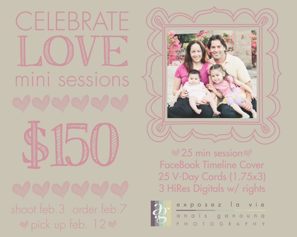 Celebrate Love, Mini sessions at $150